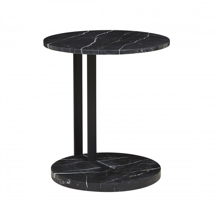 Amara Linear Side Table Black Marble 500D x H560mm  - Globewest