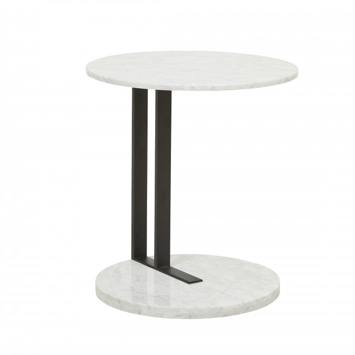 Amara Linear Side Table White Marble 500D x H560mm  - Globewest
