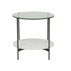 Clermont Layer Marble Side Table 50cm -Dark Wenge Glass Top  / Marble Base - Globewest-GlobeWest
