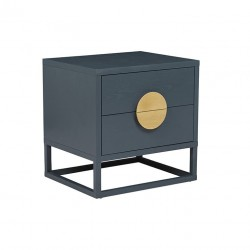 Benjamin Bedside Dark Teal / Natural Ash W550 x D450 X H550mm   - Globewest