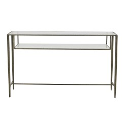 Amelie Layer Console-Clear Tempered Glass / White Marble 130cm  - Globewest