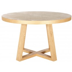 Ascot Round Dining Table Ash Veneer - Natural 120cm  - Globewest
