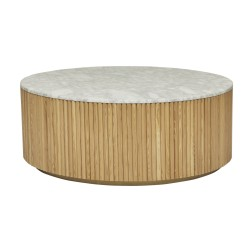 Benjamin Ripple Marble Coffee Table 100cm - Natural Ash / White Marble  - Globewest