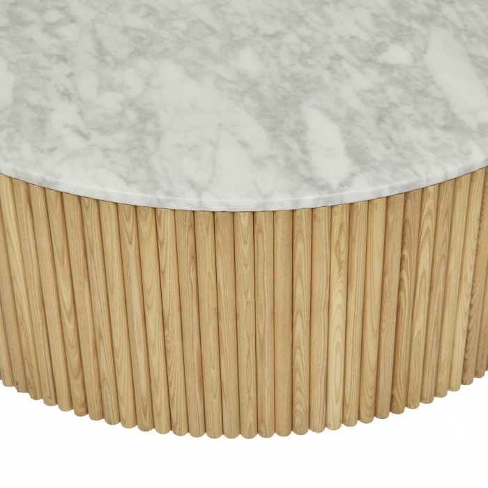 Benjamin Ripple Marble Coffee Table 100cm - Natural Ash / White Marble-CTO-BEN-RIP-NA/MTWH