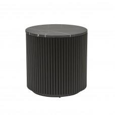 Benjamin Ripple Marble Side Table 50cm  - Matt Black / Black Marble  - Globewest-GlobeWest
