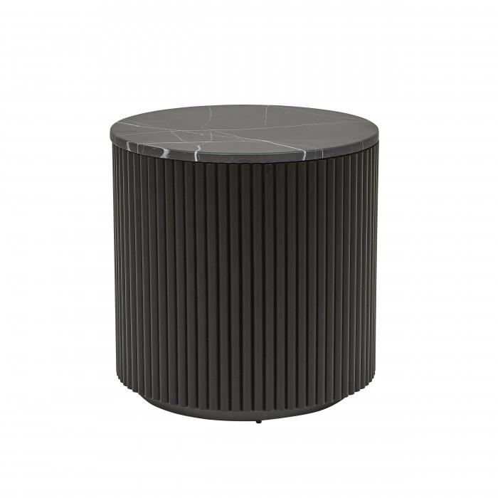 Benjamin Ripple Marble Side Table 50cm  - Matt Black / Black Marble  - Globewest-LTO-BEN-RIP-MBK/MTBK