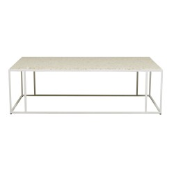Bondi Rectangle Coffee Table - White / Sand Terrazzo140cm  - Globewest