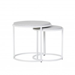 Bondi Round Set of 2 Side Tables -White / Grey Sand Terrazzo  390 Dia x H410 + 500 Dia x H460mm-GlobeWest