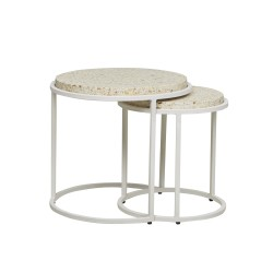 Bondi Round Set of 2 Side Tables -White / Sand Terrazzo 390 Dia x H410 + 500 Dia x H460mm-GlobeWest