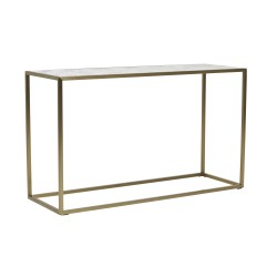 Elle Cube Marble Consol 120cm -Brushed Gold / White Carrara Marble (Italian)  - Globewest