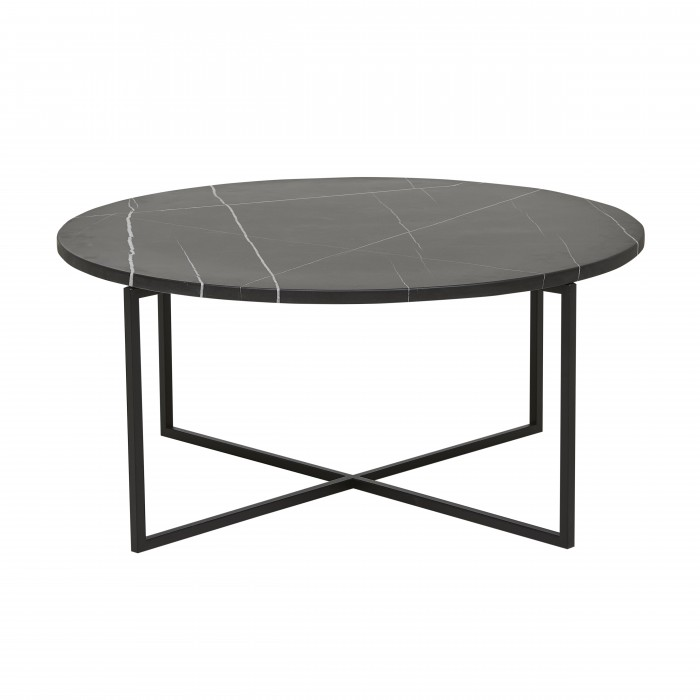 Elle Luxe Round Coffee Tables-Black / Black-GlobeWest