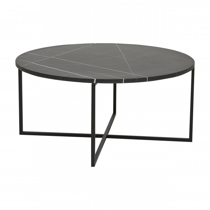 Elle Luxe Marble Round Coffee Tables 80cm -Black Marble / Black  - Globewest-CTO-ELL-LUXE-MAR-SM-BK/MTBK