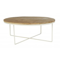 Flinders Round Coffee Table 90cm-Natural / White  - Globewest