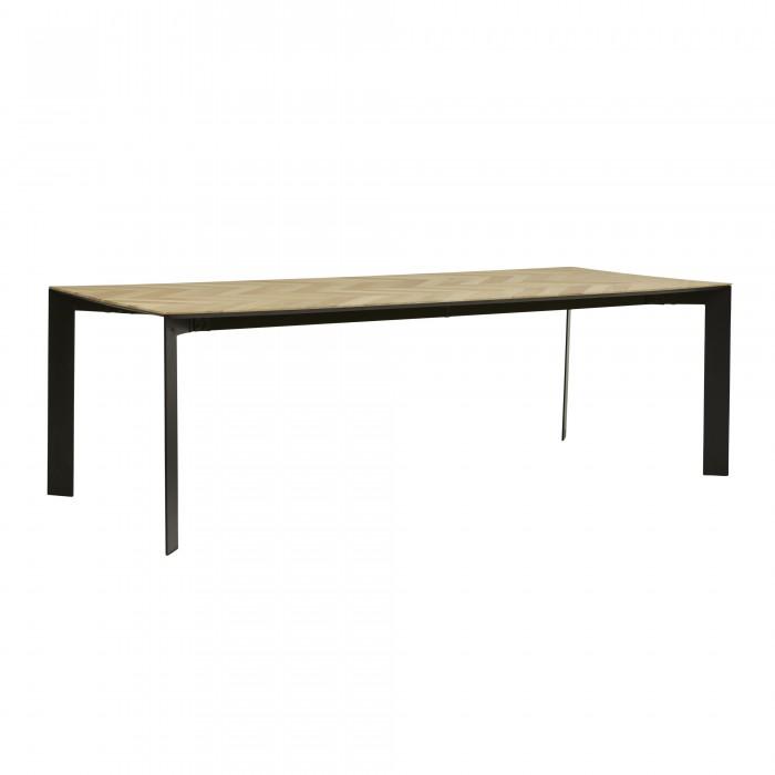 Henley Chevron Dining Tables 240cm -Black / Oak-DT-HENLEY-CHEV-10S-BK/OAK