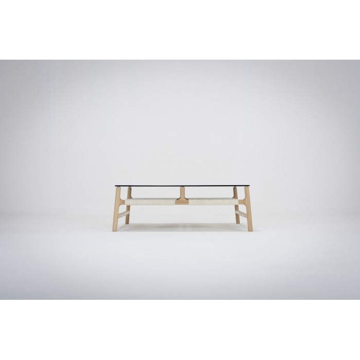 Fawn coffee table Solid Oak Cotton rope  Smoked Glass 160 x 60Cm By Gazzda