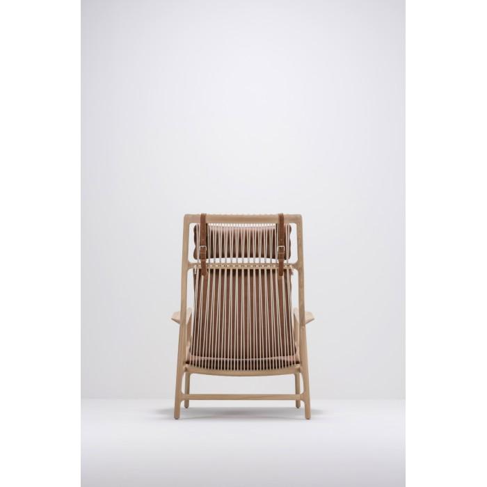 Dedo lounge chair Oiled oak - White Dakar leather - Whisky By Gazzda
