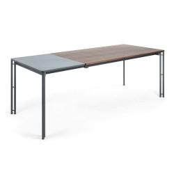 MAHON Table 160(220)x90 graphite, walnut veneer