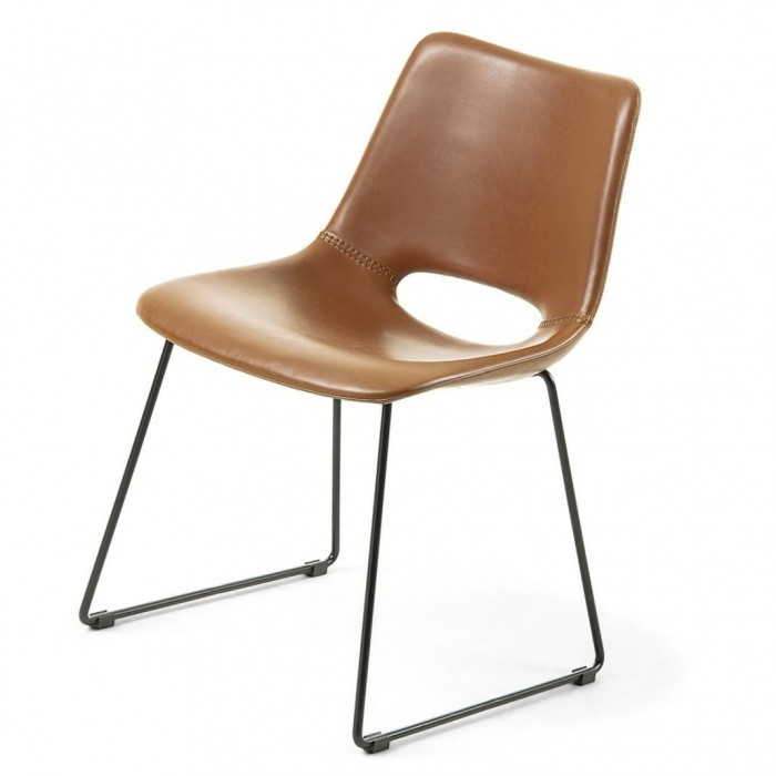 Zigmin - Rust synthetic leather Dining Chair - Black Legs-Daelce and Zo