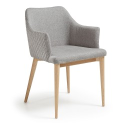 Danny - armchair - Quilted Light Grey fabric