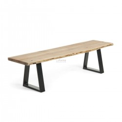 Industrial Natural Solid wattle timber Dining Bench 140