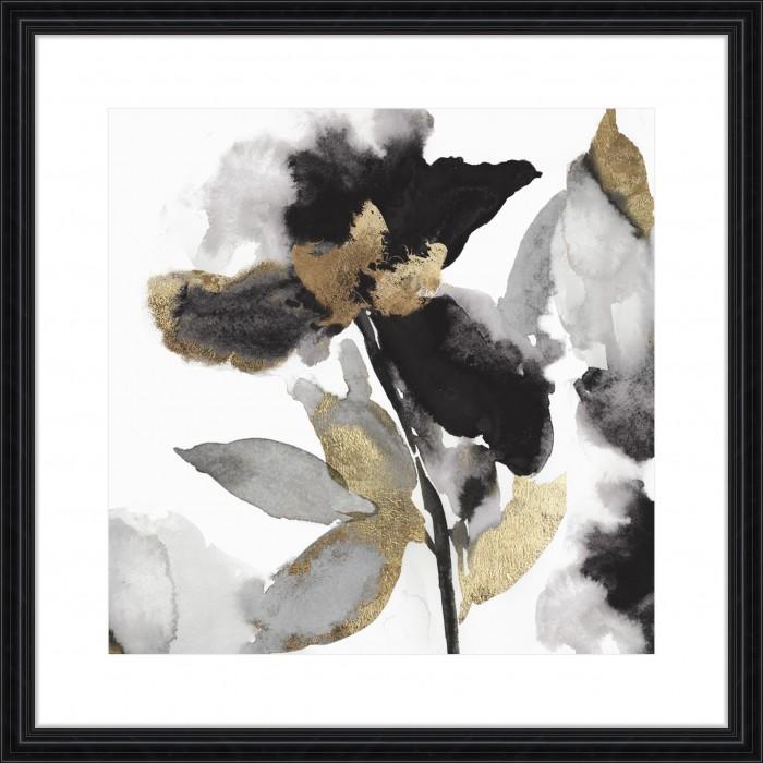 Black Petals Gold Leaves II - Embellished 88x88cm / Black, traditional