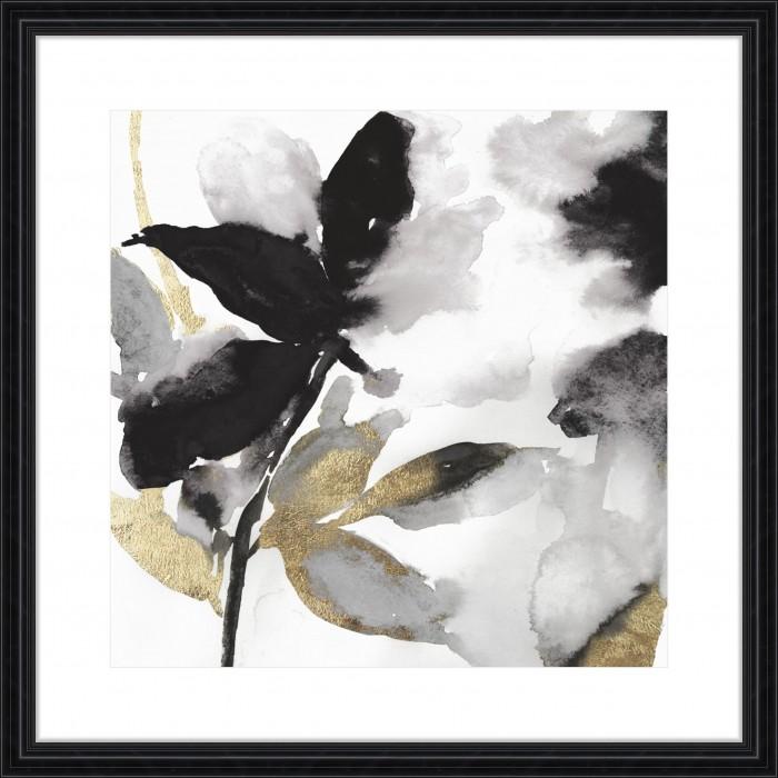 Black Petals Gold Leaves I - Embellished 88x88cm / Black, traditional