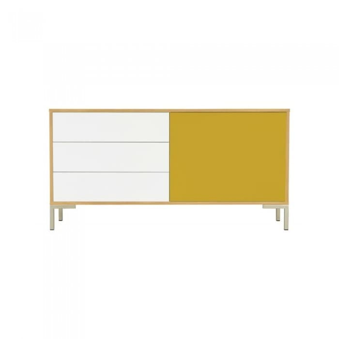 Furniture - Randy Sideboard in White & Olive Yellow