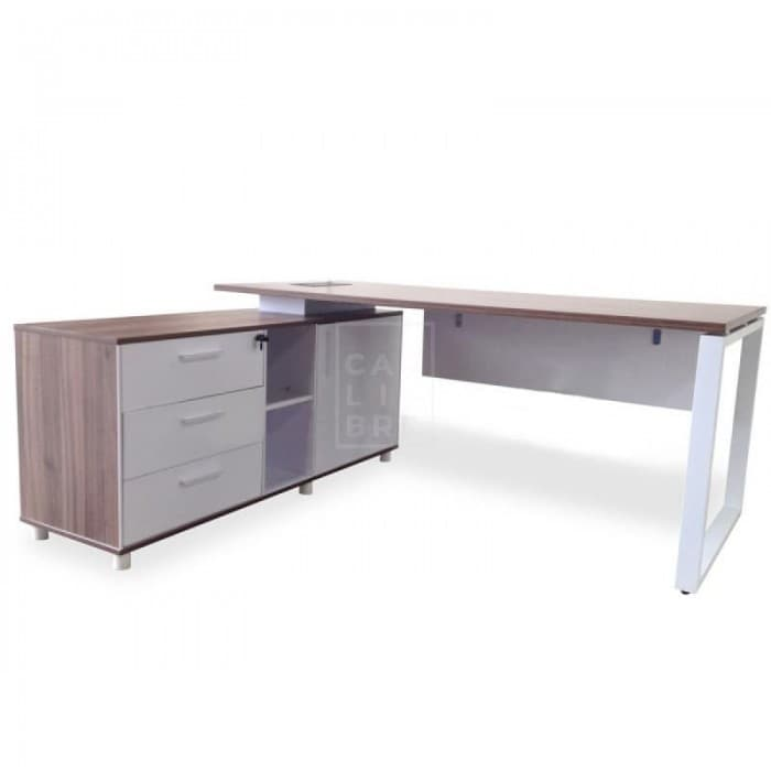 Furniture - Halo Executive Office Desk with Left Return - Upgraded Legs - Walnut