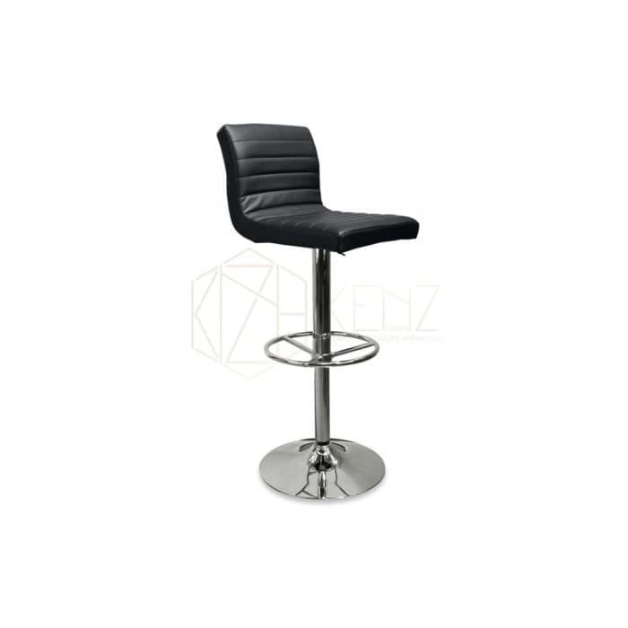Furniture - Michael Adjustable Height Swivel Bar Stool - Leather - Black