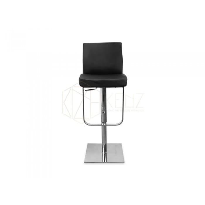 Furniture - Kumo Adjustable Height Swivel Bar Stool - Leather - Black