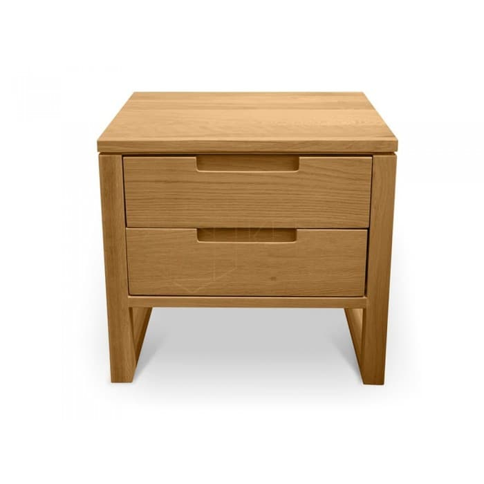 Alfred 2 Drawer Bedside Table - Natural Oak