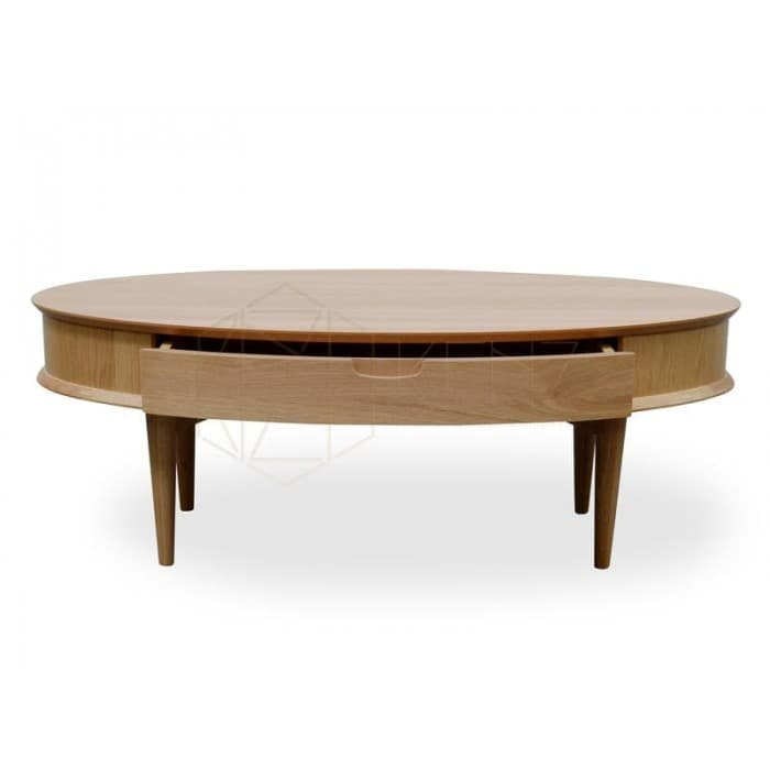 Johansen Scandinavian Coffee Table with Drawers - Natural