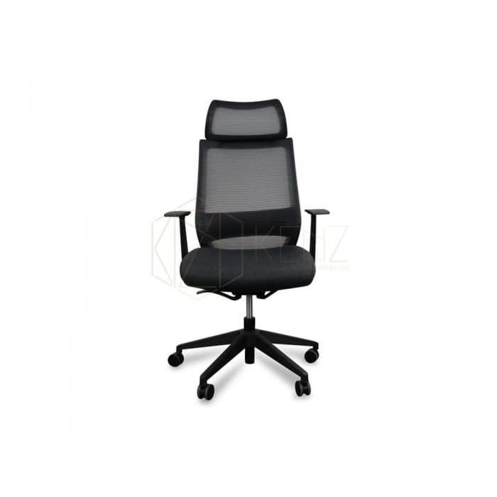 Sharp Mesh Chair With Fabric Seat – Black