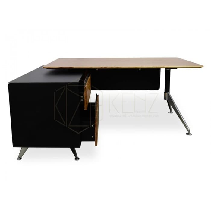 Excel 1.75m Executive Desk Left Return - Zebra Oak