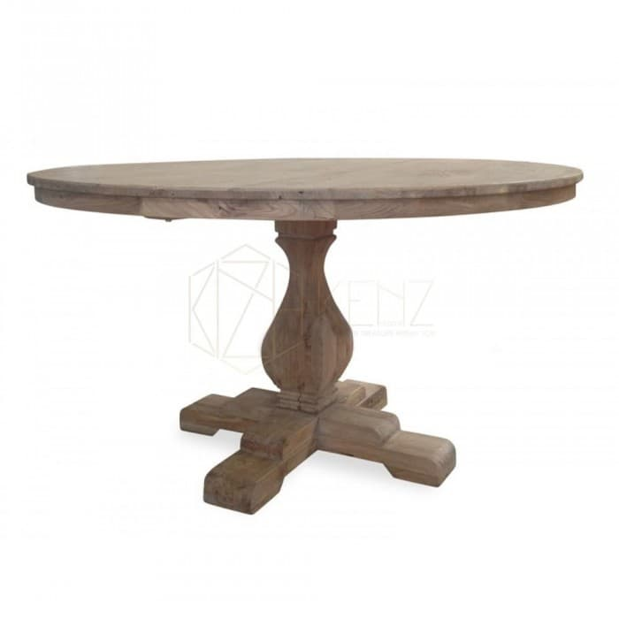 Gene Reclaimed Round ELM Wood Table 140cm - Rustic Natural