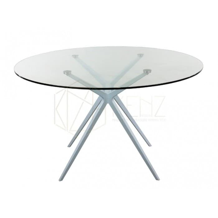 Web Round Meeting Table - Glass Top - White