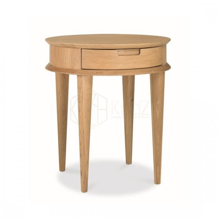 Johansen Scandinavian Lamp Side Table with Drawers - Natural